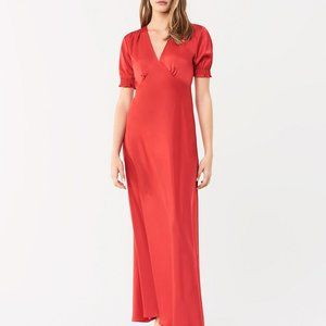 DVF Avianna Poinsetta red satin dress long new 8